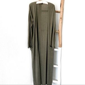 EXPRESS ARMY GREEN LONG LIGHTWEIGHT SLEEVES DUSTER
